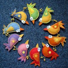 Брошки-птички из фетра