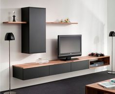 Interstar wall furniture - New Sites Tv Wall Design, House Design, Home Living Room, Living Room Decor, Living Room Tv Unit Designs, Muebles Living, Tv Furniture, Hanging Furniture, Interior Design