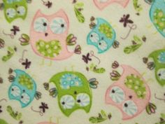 Owls Blue Pink Green On White Cotton Flannel Fabric by scizzors, $2.99