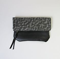 Leather Bottom Pouch. Granite. Reclaimed Leather. Cotton. Clutch. Cosmetics. Fold Over Pouch. Travel.
