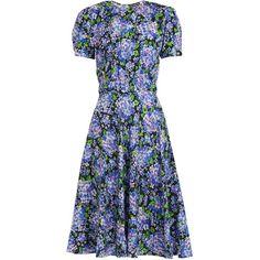 Vika Gazinskaya Floral-print puff-sleeves silk dress ($1,294) ❤ liked on Polyvore featuring dresses, navy multi, silk dress, flower print dress, short dresses, dressy dresses and shirred dress