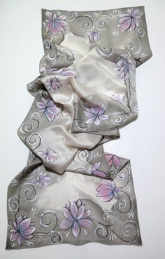 "#Silk #Scarves - Hand painted silk scarf - ""Pink and Gray""- flower scarf-silver -pink-grey http://www.lovelysilks.com"