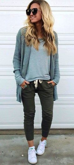 #fall #outfits women's gray cardigan and black fitted pants