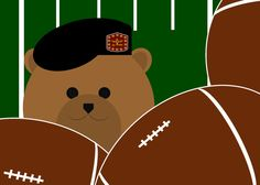 "Miss sharing football season with your military hero? Let them know with this fun card next ""mail call."" With 10 Army, 10 Navy, 8 Air Force, 8 Coast Guard & 4 Marine Corps uniforms, you should find a uniform that resembles your Honey Bear, Papa Bear, Mama Bear or Baby Bear's military uniform. : )"