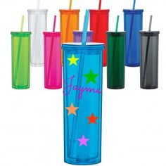 Skinny Acrylic Double Wall by LillGellys on Etsy   16 oz in size, includes matching straw & lid, and features a double wall. Perfect for personalizing. Think names for your bridal party, family reunion, even teacher gifts. You will love these tumblers. BPA free.