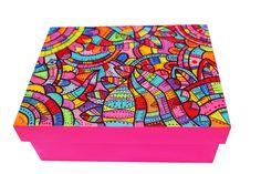 caja de madera pintada a mano. acrilico.