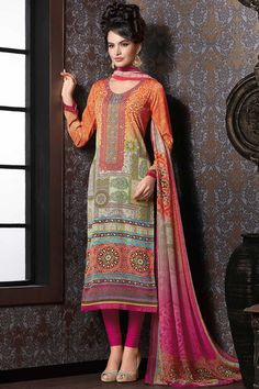 #Orange & #hot #pink multicoloured crepe #silk modish straight cut #kameez with scooped u neck -SL4721