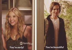 Hahaha. Oh, Caleb.  Handing out cheesy compliments like a boss.  #ILikeCheesyCompliments #Haleb  PLL
