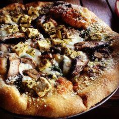 Pizza: Button and Portobello Mushrooms, Mozzarella, Spinach,