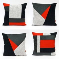 Modern Geometric Patchwork Pillow Cover - upholstery fabric cushion cover - 16 #diypillowcoversstitches