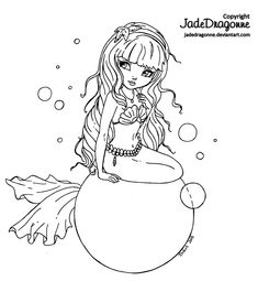 -Traditionnal art - Ink - * Inspired by [link] * Ref. Pose: [link] Part of the Fantasy Land [link] and Pin Up Cutie Pie [link] series To see more Cutie . Pin Up Mermaid Mermaid Coloring Pages, Coloring Book Pages, Pin Up Mermaid, Creation Art, Dragon, Digi Stamps, Copics, Printable Coloring, Clipart