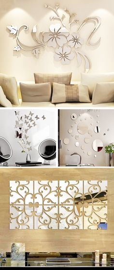 Neutral walls, beige tones and mirrored wall stickers make a great feature. Easy ways to add finishing touches to your home decor.