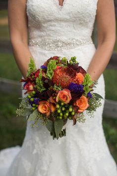 Fall Bouquet - Knoxville Outdoor Wedding - Orange - Burnt Orange - Red - Purple - Roses - Green - Bright and Colorful Bridal Bouquet - Bride Flowers - Jennifer Crook Photography - Knoxville TN Florist - Lisa Foster Floral Design - www.lisafosterdesign.com
