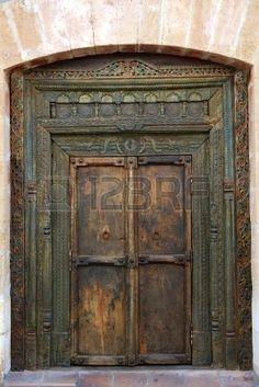 ancient eastern indian polychrome wooden entrance door