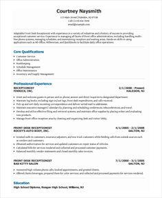 Receptionist Resume Examples Free Resume Template Receptionist  Free Resume Templates .