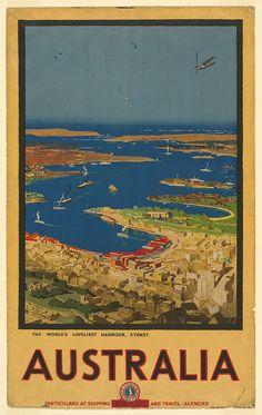 Vintage Travel Poster - Sydney - The World's Loveliest Harbour - Australia. Vintage Advertisements, Vintage Ads, Brisbane, Posters Australia, Australian Vintage, Australian Painters, Australia Travel, Sydney Australia, Australia Pics