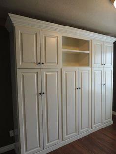 Mudroom lockers with doors help hide coat clutter.