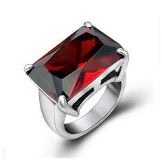 Giorgia - Graceful Red CZ Diamonds Silver Ring