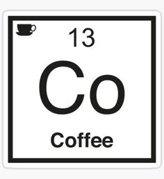 Co Coffee Element Sticker Tumblr Stickers, Phone Stickers, Cool Stickers, Funny Stickers, Printable Stickers, Aesthetic Stickers, Wall Collage, Words Quotes, Chemistry