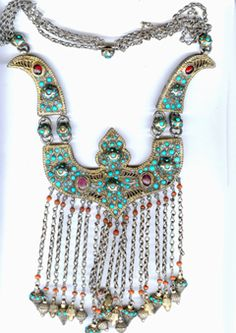 Uzbekistan   Silver gilt Bukharan necklace with inlaid turquoise, garnet and coral from 19th century    From Singkiang.