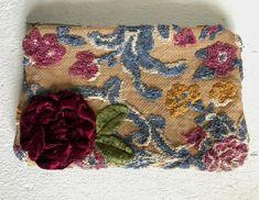 Blue tapestry floral clutch with velvet applique flower | Etsy Blue Tapestry, Tapestry Floral, Floral Clutches, Fabric Remnants, Floral Kimono, Little Bag, Zipper Bags, Blue Velvet, Vintage Floral