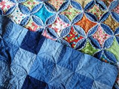 What's Shabby Chic? It's Blue Jean Circles with Square Bright Color Fabric Centers. 2 Videos - Keeping u n Stitches Quilting