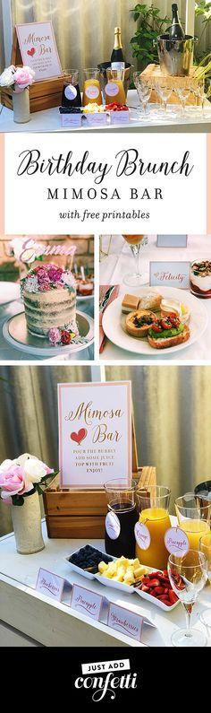Birthday Brunch Mimosa Bar, mimosa bar, free printables, Just Add Confetti, Just Add Confetti free printables, My Little Party Australia, mimosa, brunch, birthday brunch
