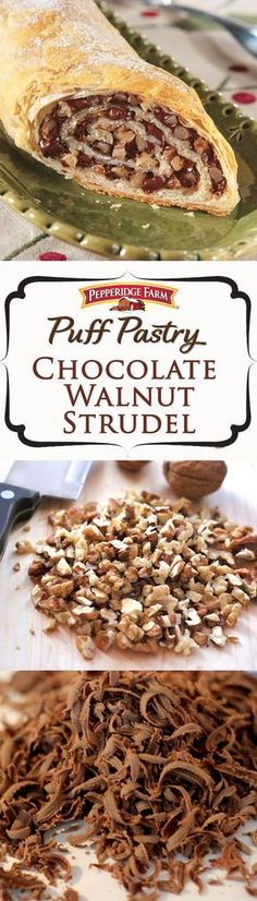 Pepperidge Farm Puff Pastry Chocolate Walnut Strudel Recipe This exquisite holiday dessert features a luscious chocolate and walnut filling rolled up in golden Puff Pastr. Puff Pastry Desserts, Puff Pastry Recipes, Köstliche Desserts, Holiday Desserts, Delicious Desserts, Dessert Recipes, Puff Pastries, Christmas Recipes, Savory Pastry