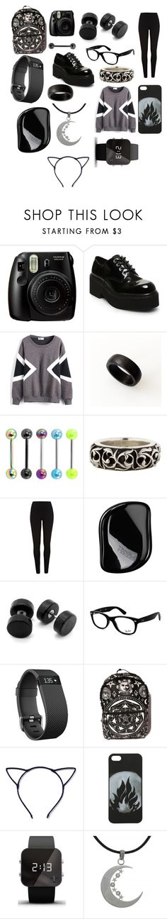 """Black is still my happy colour"" by hailstone360 ❤ liked on Polyvore featuring Fujifilm, Steve Madden, WithChic, Chrome Hearts, River Island, Tangle Teezer, Ray-Ban, Fitbit, Kill Star and Hot Topic"