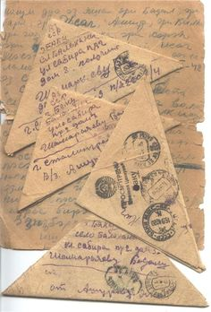 """""""The letters of Yakov Lazirovich Ashurov from Azerbaijan. He was born in Baku in 1924, joined up at the age of seventeen, was killed at Stalingrad in 1942. His letters to his parents survived in the Iranian Tat (Juhuri) language, related to Persian and Kurdish, of the Caucasian Mountain Jews  as well as in biblical Hebrew."""" (This is the way the Soviets always folded their mail. rw)"""