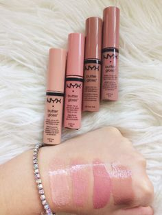I really love NYX butter gloss. And it's beautiful over there nude matte lips stick. Makeup Swatches, Makeup Dupes, Makeup Brands, Skin Makeup, Best Makeup Products, Beauty Makeup, Beauty Products, Drugstore Beauty, Elf Dupes