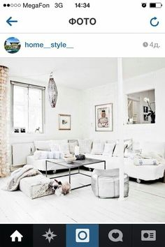 I love looking at anything that inspires me to decorate my own future home. Home Living Room, Living Area, Living Spaces, Love Home, White Houses, Home Fashion, Interiores Design, Home Decor Inspiration, Interior Architecture