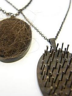 Freundschaftskult. Necklaces. Alpaca, hair, steel, resin, silver.