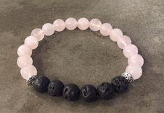 Essential Oil Defuser Bracelet with Rose Quartz and Lava Rock by Pollyannagrace on Etsy https://www.etsy.com/listing/488583488/essential-oil-defuser-bracelet-with-rose