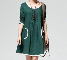 4 color Big yards of cotton/linen long sleeve dress by ElegantGens