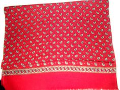 Hot red paisley vintage shawl wool by CHEZELVIRE on Etsy, $10.00 Cheer Skirts, Shawl, Paisley, Wool, Red, Etsy, Vintage, Scarfs, Veils