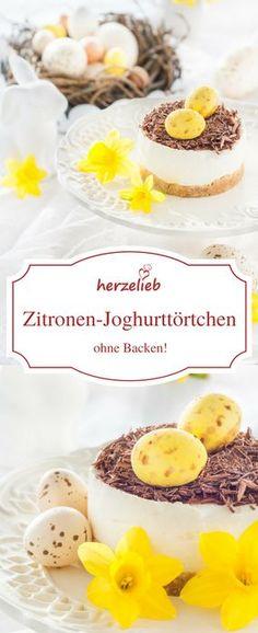 Food - Rezept für ein Zitronen-Joghurt-Törtchen zu Ostern. Schmeckt auch ohne Osterdekoration perfekt das ganze Jahr. Kuchen ohne Backen auf meinem Foodblog herzelieb .