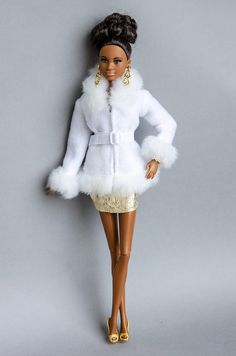 Barbie clothes - Barbie jacket - Fashion Royalty Doll clothes Barbie coat doll coat, Made to move Fa Monster High Doll Clothes, Doll Clothes Barbie, African American Beauty, African American Dolls, Fashion Royalty Dolls, Fashion Dolls, Fashion Dresses, Cute Winter Coats, Barbie Mode