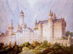 Neuschwanstein Castle: project drawing by Christian Jank, 1869. Neuschwanstein embodies both the contemporeous architectural fashion known as castle romanticism (German: Burgenromantik), and Ludwig II's immoderate enthusiasm for the operas of Richard Wagner.