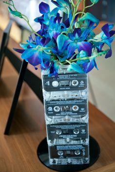 Core Productions - music wedding décor, cassette tape vase, wedding flowers....sams wedding