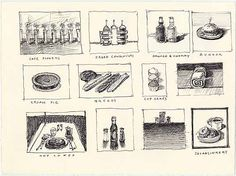 wayne thiebaud,  cafe flowers, caged condiments, cream pie, java and sinkers, and other food, c. 1995. drawing, ink on paper.