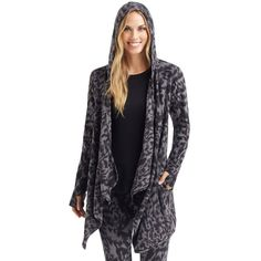 Women's Cuddl Duds Fleece Hooded Wrap Cardigan, Size: L-Xl, Oxford