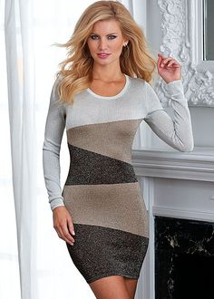 Tri Color sweater dress from VENUS. Sizes XS-XL!