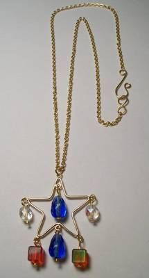 Red, White, and Blue Star Dangle Necklace