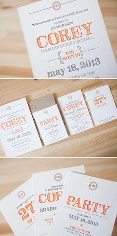 Custom rustic bar mitzvah invitations letterpress printed by Bella Figura.