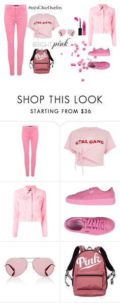pink 3 by tres-chic-by-paulina on Polyvore featuring moda, River Island, J Brand, Puma, Victoria's Secret and Oliver Peoples