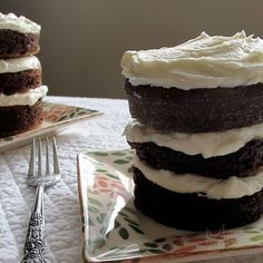 mini chocolate cakes baked in ramekins and stacked into towers. marta is such a doll. for realzies.... love her.