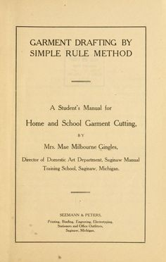 Garment drafting by simple rule method;
