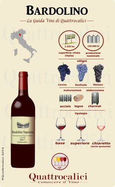 Tutti i vini Bardolino nella Guida vini di Quattrocalici. All Bardolino wines on Quattrocalici wine guide. Get the latest wine news and trends all the way from USA, Australia, and New Zealand! Get to know your favorite types of wine with us! Guide Vin, White Wine Spritzer, Red Wine Benefits, Wine Chart, Wine Vine, Corvina, Wine News, Wine Education, Grand Cru