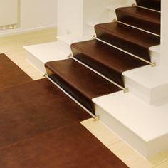 Leather flooring-Stairrunner leather-KURTH Manufaktur